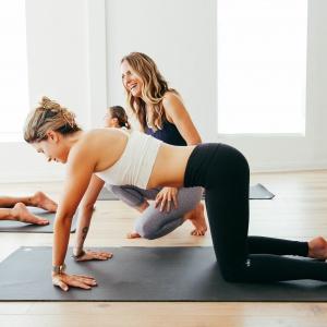 Rachel Grant Jackson teaching a yoga class